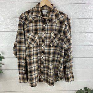 Wrangler Wrancher Mens XL Western Flannel Shirt